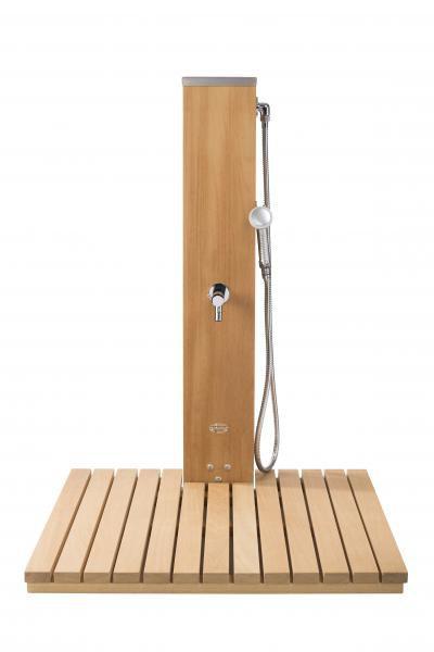 Caillebotis pour douche borne en Iroko